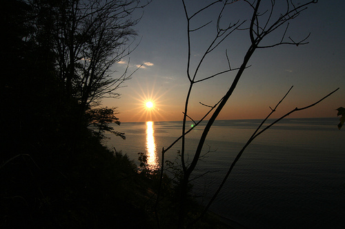 Sunset on Lake Superior, rays of light